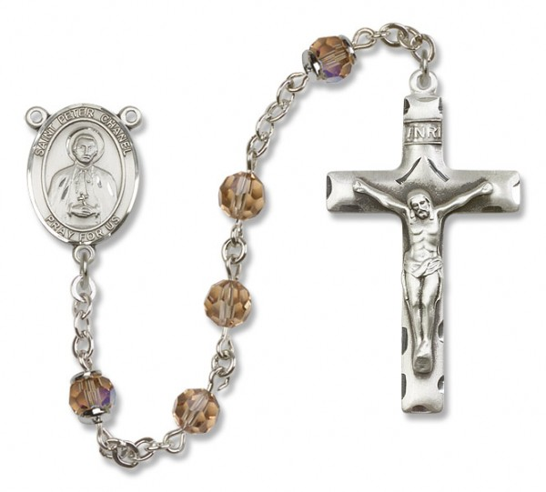 St. Peter Chanel Sterling Silver Heirloom Rosary Squared Crucifix - Topaz