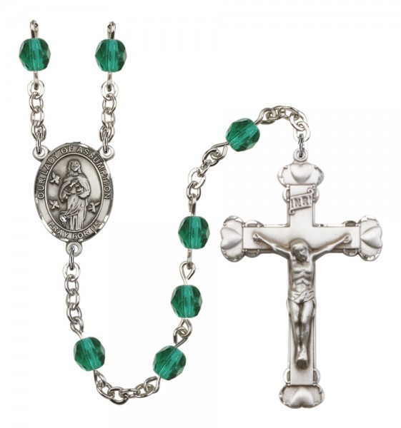 Women's Our Lady of Assumption Birthstone Rosary - Zircon