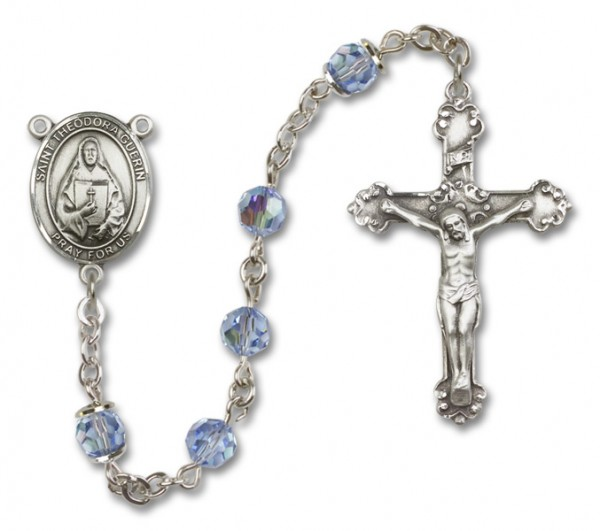 St. Theodore Guerin Rosary Heirloom Fancy Crucifix - Light Sapphire