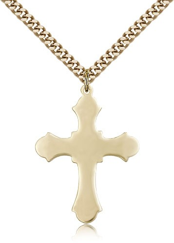 Budded Thick Cross Necklace - 14KT Gold Filled