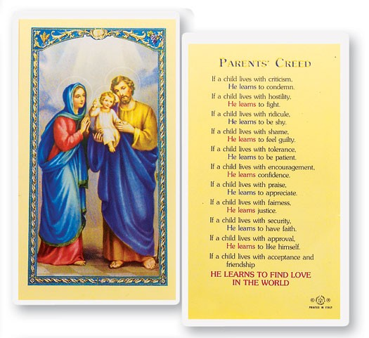 Parents Creed Laminated Prayer Cards 25 Pack - Full Color