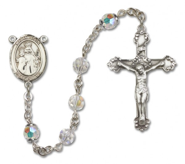Maria Stein Sterling Silver Heirloom Rosary Squared Crucifix - Crystal