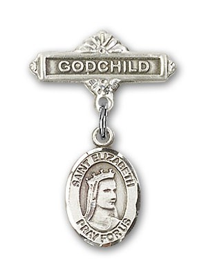 Pin Badge with St. Elizabeth of Hungary Charm and Godchild Badge Pin - Silver tone