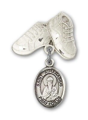 Pin Badge with St. Athanasius Charm and Baby Boots Pin - Silver tone
