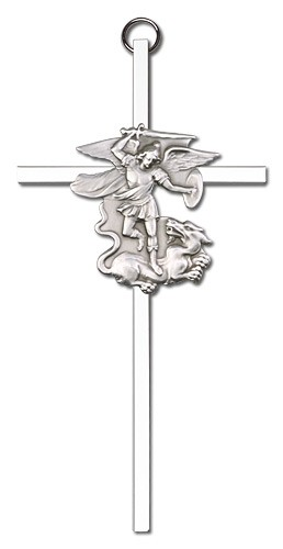 "St. Michael Wall Cross 6"" - Silver tone"