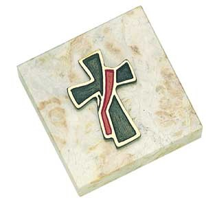 Deacon's Cross Paperweight - White