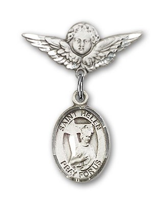 Pin Badge with St. Helen Charm and Angel with Smaller Wings Badge Pin - Silver tone