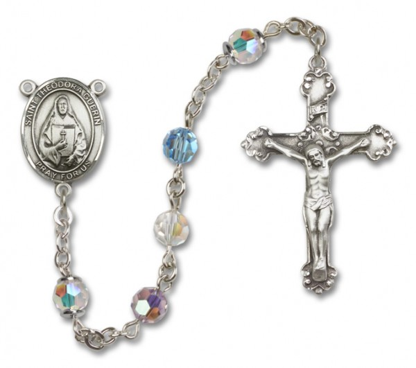 St. Theodora Guerin Sterling Silver Heirloom Rosary Fancy Crucifix - Multi-Color