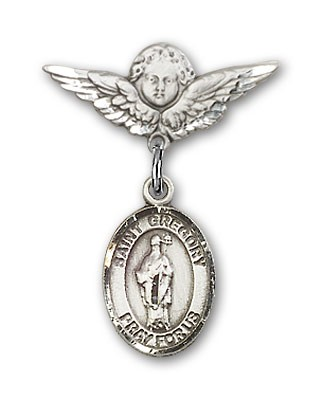 Pin Badge with St. Gregory the Great Charm and Angel with Smaller Wings Badge Pin - Silver tone