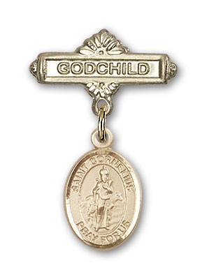 Pin Badge with St. Cornelius Charm and Godchild Badge Pin - 14K Solid Gold