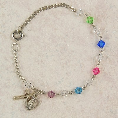 Sterling Silver Rosary Bracelet with Swarovski Crystal Beads - Multi-Color