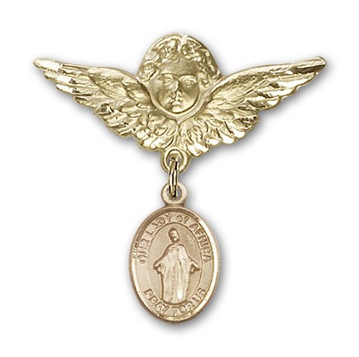 Pin Badge with Our Lady of Africa Charm and Angel with Larger Wings Badge Pin - 14K Yellow Gold