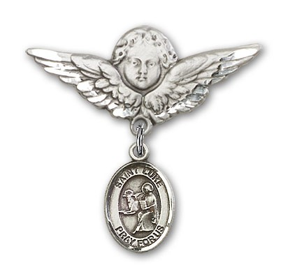 Pin Badge with St. Luke the Apostle Charm and Angel with Larger Wings Badge Pin - Silver tone