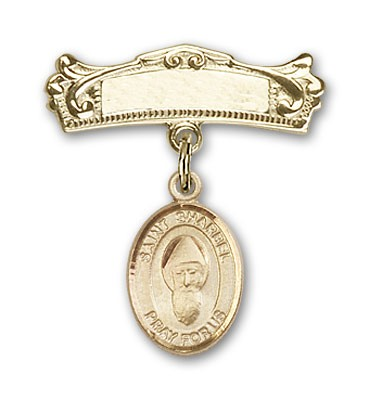 Pin Badge with St. Sharbel Charm and Arched Polished Engravable Badge Pin - Gold Tone