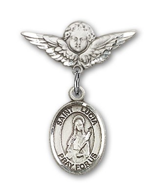 Pin Badge with St. Lucia of Syracuse Charm and Angel with Smaller Wings Badge Pin - Silver tone