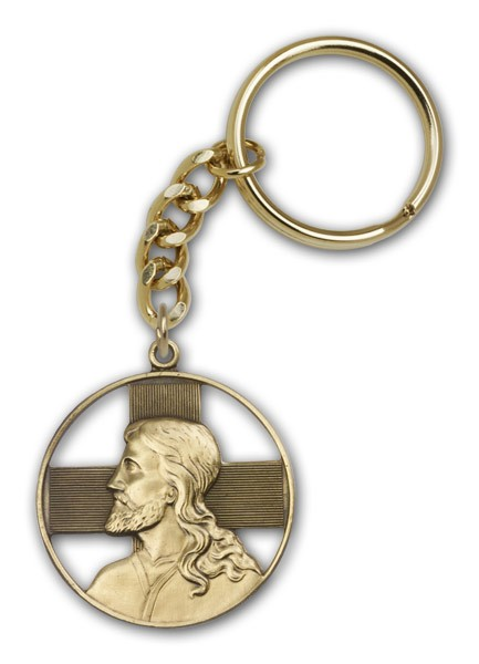 Christ Keychain - Antique Gold