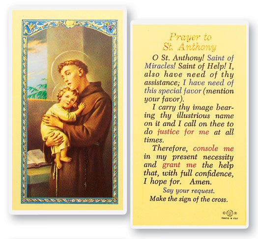 Prayer To St. Anthony Laminated Prayer Cards 25 Pack - Full Color