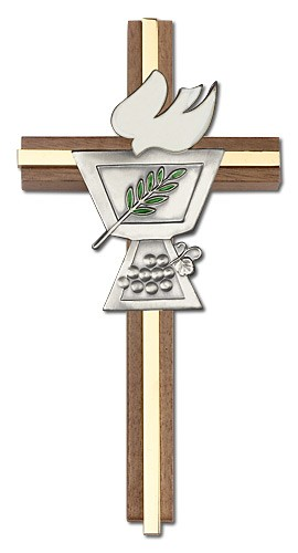"Confirmation Chalice and Dove Wall Cross in Walnut Wood with Metal Inlay 6"" - Two-Tone Gold"