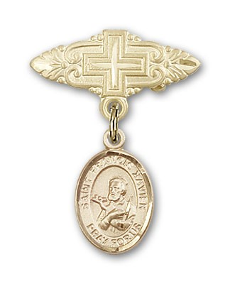 Pin Badge with St. Francis Xavier Charm and Badge Pin with Cross - 14K Solid Gold