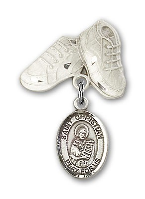 Pin Badge with St. Christian Demosthenes Charm and Baby Boots Pin - Silver tone