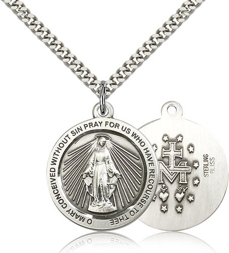 Rays of Light Miraculous Medal Necklace - Sterling Silver