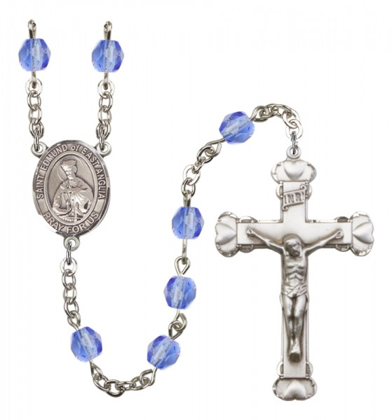 Women's St. Edmund of East Anglia Birthstone Rosary - Sapphire