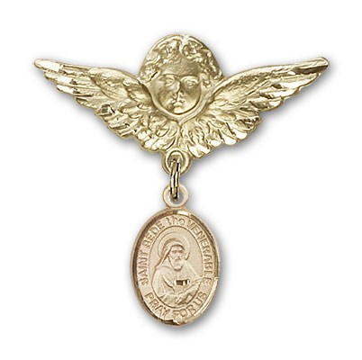 Pin Badge with St. Bede the Venerable Charm and Angel with Larger Wings Badge Pin - 14K Solid Gold