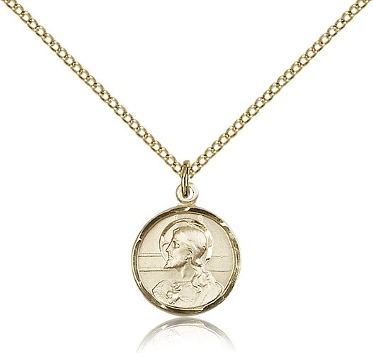 Double-sided Scapular Medal Pendant Round - 14KT Gold Filled