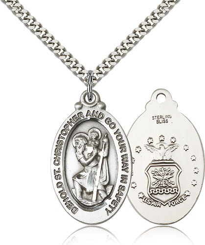St. Christopher Air Force Medal - Sterling Silver