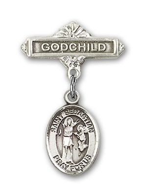 Pin Badge with St. Sebastian Charm and Godchild Badge Pin - Silver tone