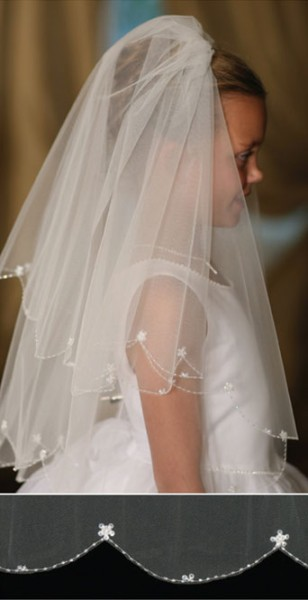First Communion Veil with Scalloped Edge Embroidered Bead and Flower Accents - White