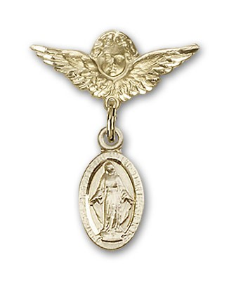 Pin Badge with Blue Miraculous Charm and Angel with Smaller Wings Badge Pin - 14K Solid Gold