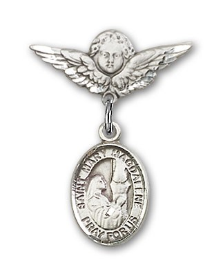 Pin Badge with St. Mary Magdalene Charm and Angel with Smaller Wings Badge Pin - Silver tone
