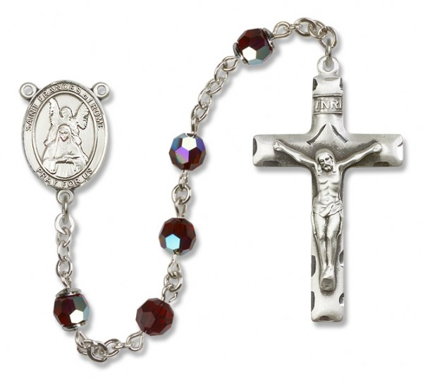 St. Frances of Rome Sterling Silver Heirloom Rosary Squared Crucifix - Garnet