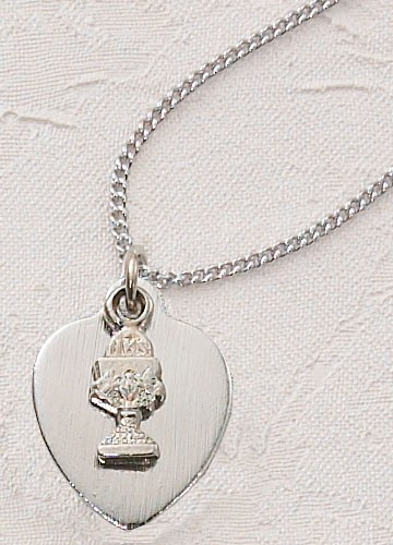 "Silver Heart and Chalice First Communion Necklace - 16""L - Silver"