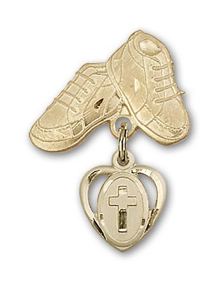 Baby Badge with Cross Charm and Baby Boots Pin - Gold Tone