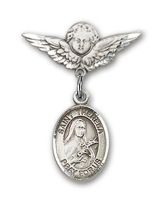 Pin Badge with St. Theresa Charm and Angel with Smaller Wings Badge Pin - Silver tone