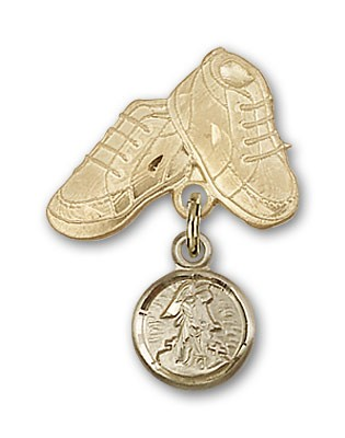 Baby Pin with Guardian Angel Charm and Baby Boots Pin - Gold Tone