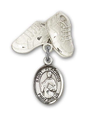 Pin Badge with St. Placidus Charm and Baby Boots Pin - Silver tone