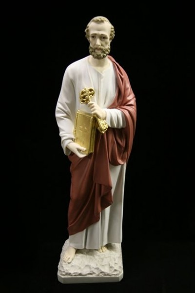 Saint Peter Statue Hand Painted Marble Composite - 24.5 inch - Full Color