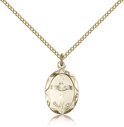 Petite Oval Baptism Medal with Shell In Cross Design - 14KT Gold Filled