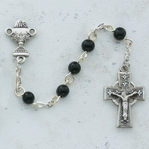 Boy's Celtic First Communion Rosary in Pewter - Black
