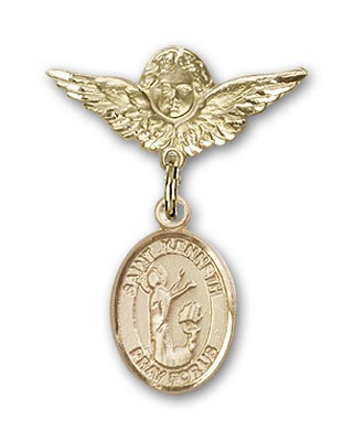 Pin Badge with St. Kenneth Charm and Angel with Smaller Wings Badge Pin - 14K Yellow Gold