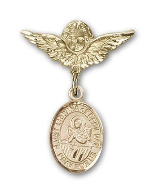 Pin Badge with St. Lidwina of Schiedam Charm and Angel with Smaller Wings Badge Pin - Gold Tone