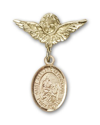 Pin Badge with St. Bernard of Montjoux Charm and Angel with Smaller Wings Badge Pin - Gold Tone