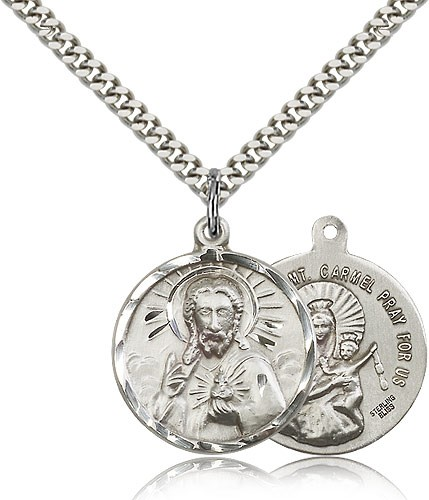 Men's Scapular and Our Lady of Mount Carmel Necklace - Sterling Silver