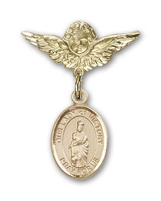 Pin Badge with Our Lady of Victory Charm and Angel with Smaller Wings Badge Pin - 14K Solid Gold