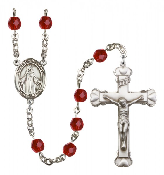 Women's Our Lady of Peace Birthstone Rosary - Ruby Red