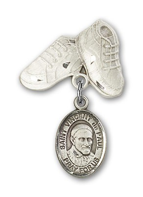 Pin Badge with St. Vincent de Paul Charm and Baby Boots Pin - Silver tone