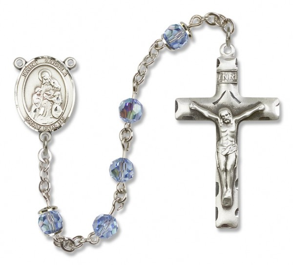 St. Angela Merici Rosary Heirloom Squared Crucifix - Light Sapphire